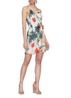 alice + olivia Susana花卉印花仿包裹式吊带连衣裙