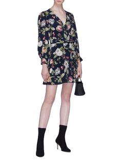 alice + olivia Hannah包裹式花叶印花V领连衣裙