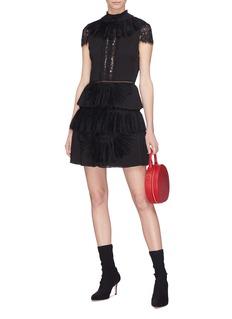 alice + olivia Rosetta褶裥布饰蕾丝拼接百褶连衣裙