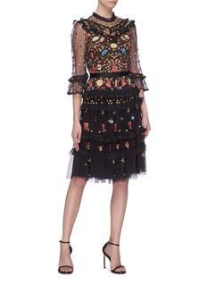 NEEDLE & THREAD Pandora花卉刺绣荷叶边薄纱连衣裙