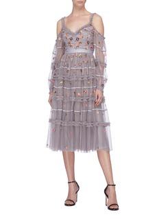 NEEDLE & THREAD Celeste花卉刺绣荷叶边挖肩连衣裙