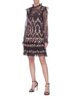 NEEDLE & THREAD Eclipse蕾丝花卉刺绣薄纱连衣裙