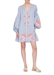 MARCH11  Rose Power花卉刺绣流苏灯笼袖连衣裙