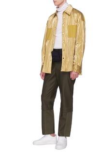 FENG CHEN WANG 拼接设计光泽感皱感衬衫