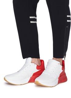 Alexander McQueen Larry oversize拼色真皮厚底运动鞋