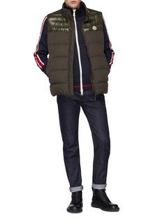 Moncler M字母植绒徽章拼色条纹夹克
