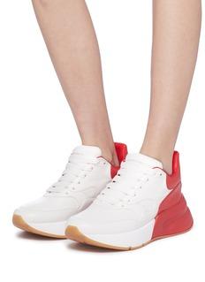 Alexander McQueen oversize拼色真皮厚底运动鞋