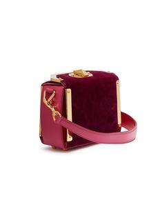Alexander McQueen Box Bag 16真皮拼接天鹅绒箱型斜挎包