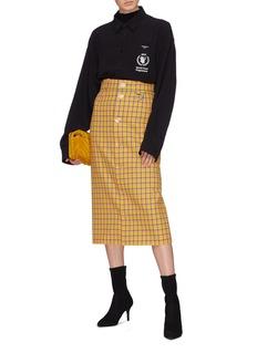 BALENCIAGA 钮扣设计羊毛格纹铅笔裙