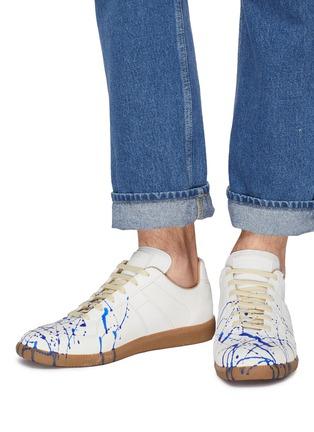 模特儿示范图 - 点击放大 - MAISON MARGIELA - Replica泼墨图案真皮拼接绒面皮运动鞋