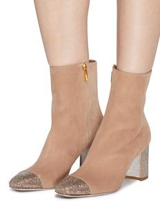 RENÉ CAOVILLA 仿水晶点缀绒面真皮粗跟短靴