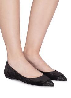 RENÉ CAOVILLA Grace仿水晶绗缝天鹅绒平底鞋