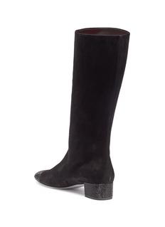 RENÉ CAOVILLA 仿水晶绒面真皮粗跟靴