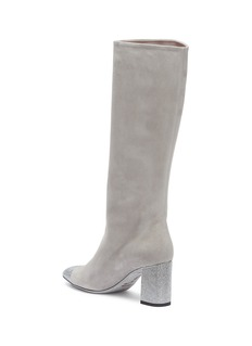 RENÉ CAOVILLA 仿水晶绒面真皮粗跟长靴