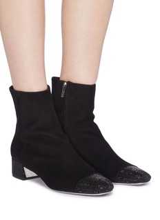 RENÉ CAOVILLA 仿水晶绒面真皮粗跟短靴