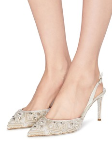 René Caovilla 仿水晶人造珍珠蕾丝露跟鞋