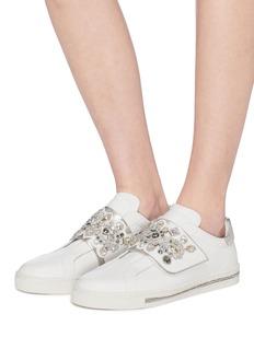 RENÉ CAOVILLA 仿水晶搭带小牛皮运动鞋