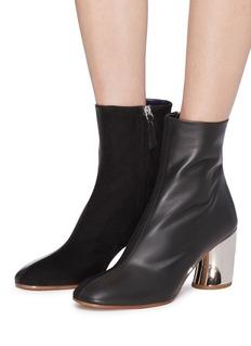 PROENZA SCHOULER 镜面鞋跟绒面真皮拼接光滑真皮短靴