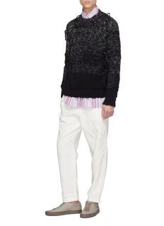 MAISON FLANEUR 拼接设计毛线流苏羊毛针织衫
