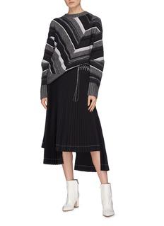 HELMUT LANG 小羊皮裙腰缝线不对称百褶半身裙