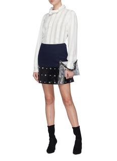 Sonia Rykiel 铆钉做旧皮革拼接斜纹布半裙