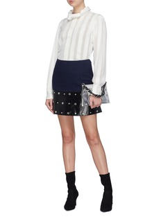 Sonia Rykiel 法式刺绣透视条纹立领衬衫