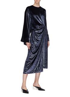 JUNE BO 光泽感丝绒搭叠包裹式连衣裙