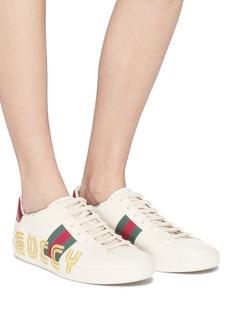 GUCCI Ace闪粉品牌标志织带真皮运动鞋