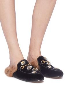 GUCCI Princetown仿水晶蜜蜂小羊毛天鹅绒乐福拖鞋