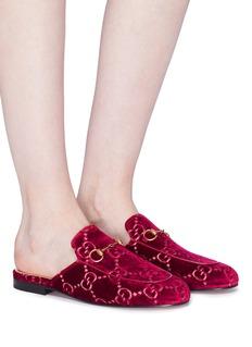 GUCCI Princetown品牌标志刺绣天鹅绒乐福拖鞋