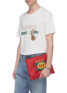 GUCCI 品牌标志中号真皮手拿包