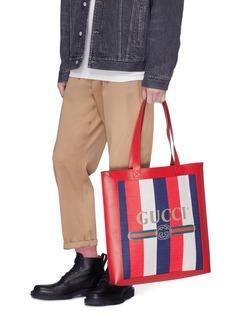GUCCI 品牌标志条纹帆布真皮托特包