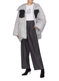Dawei 格纹混棉及羊毛斜纹布阔腿裤