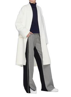 FFIXXED STUDIOS 拼接设计羊毛混亚麻针织大衣