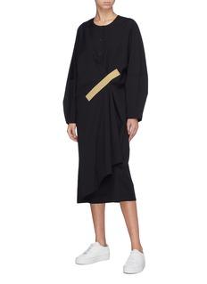 FFIXXED STUDIOS 胶带拼贴仿包裹式搭叠羊毛连衣裙