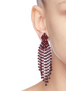 KENNETH JAY LANE 仿水晶流苏镀银金属夹耳式耳环
