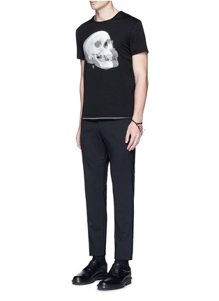 模特儿示范图 - 点击放大 - Alexander McQueen - 双影骷髅头图案纯棉T恤