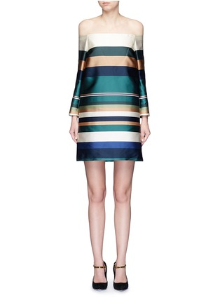 首图 - 点击放大 - ROSETTA GETTY - 彩色条纹露肩连衣裙