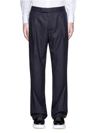 首图 - 点击放大 - ALEXANDER MCQUEEN - 条纹拼贴羊毛阔腿裤
