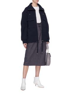 TIBI 羊毛混棉纸袋式背带裙