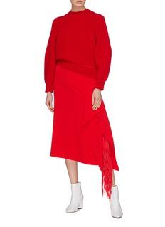 TIBI 流苏垂坠布饰绉绸半身裙