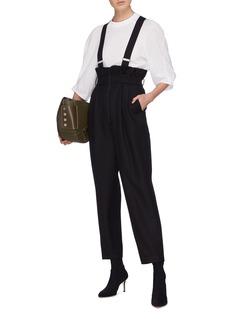 TIBI 羊毛纸袋式背带裤