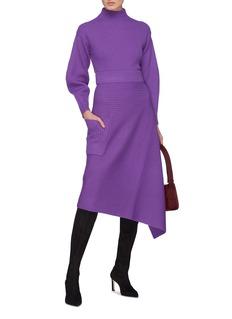 TIBI 灯笼袖高领美丽诺羊毛罗纹针织衫