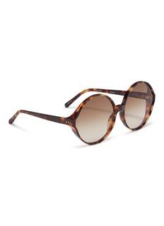 LINDA FARROW oversize玳瑁圆框太阳眼镜