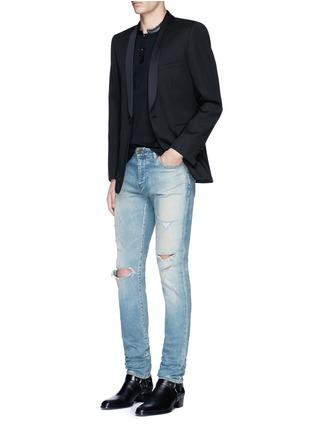 模特儿示范图 - 点击放大 - SAINT LAURENT - 羊皮小立领纯棉polo衫