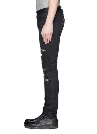 细节 - 点击放大 - SAINT LAURENT - 低腰修身磨破牛仔裤