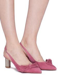 SALVATORE FERRAGAMO Aulla蝴蝶结点缀绒面真皮高跟鞋