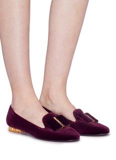 SALVATORE FERRAGAMO Sarno花形鞋跟天鹅绒乐福鞋