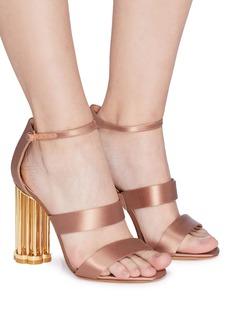 SALVATORE FERRAGAMO Daiano镂空花形粗跟缎面凉鞋