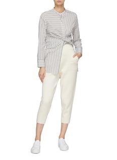 CRUSH Collection 棉混羊绒针织锥形露踝裤